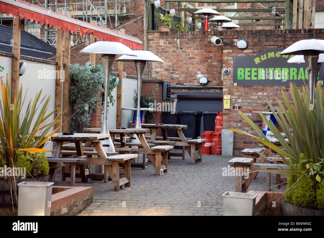 gas heaters and timber trestle tables in a pubs outside beer