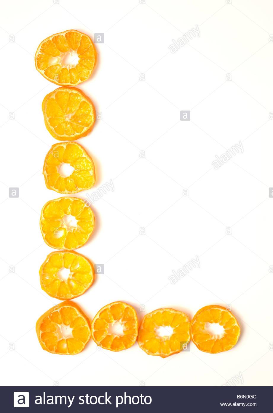 foodfont food font mandarin slices letter l white background cut stock photo foodfont food font mandarin slices letter l white background cut outs search string pbabcm