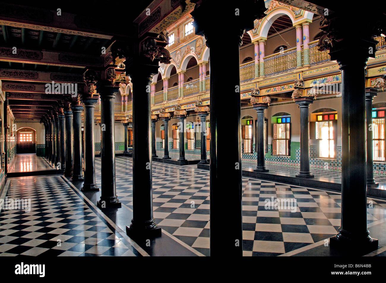 Nattukottai chettiar house in chettinad tamil nadu stock for Tamilnadu house images