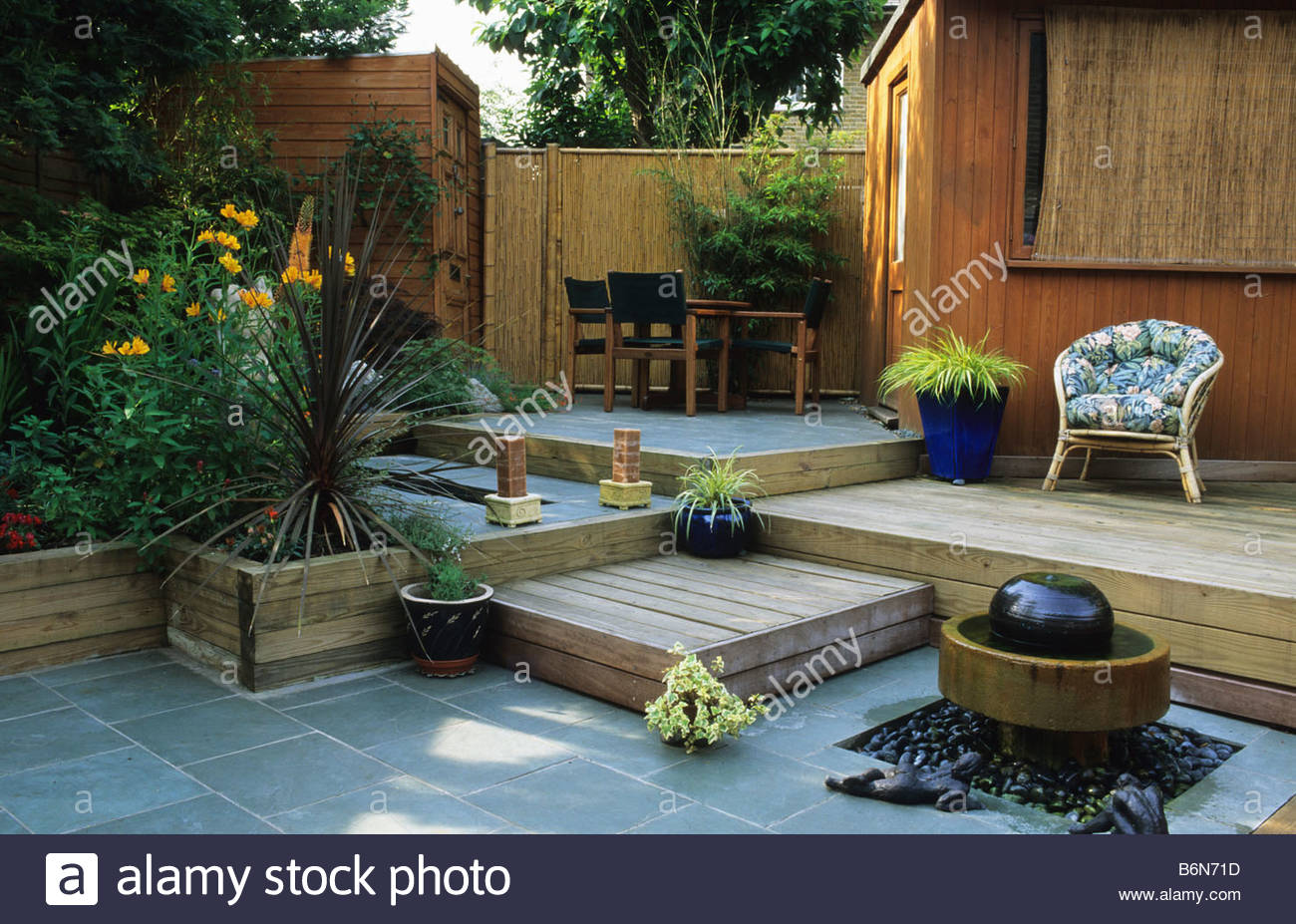 Private Garden London Design Kristina Fitzsimmons Small Town Patio Garden  With Split Levels Water Feature Seating