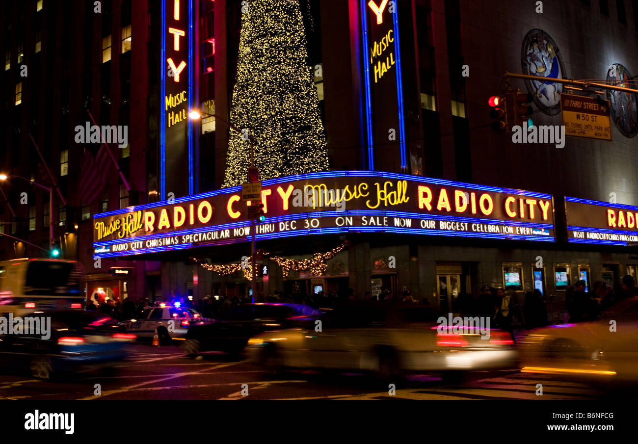 Christmas lights are seen on the outside of the Radio City Music ...