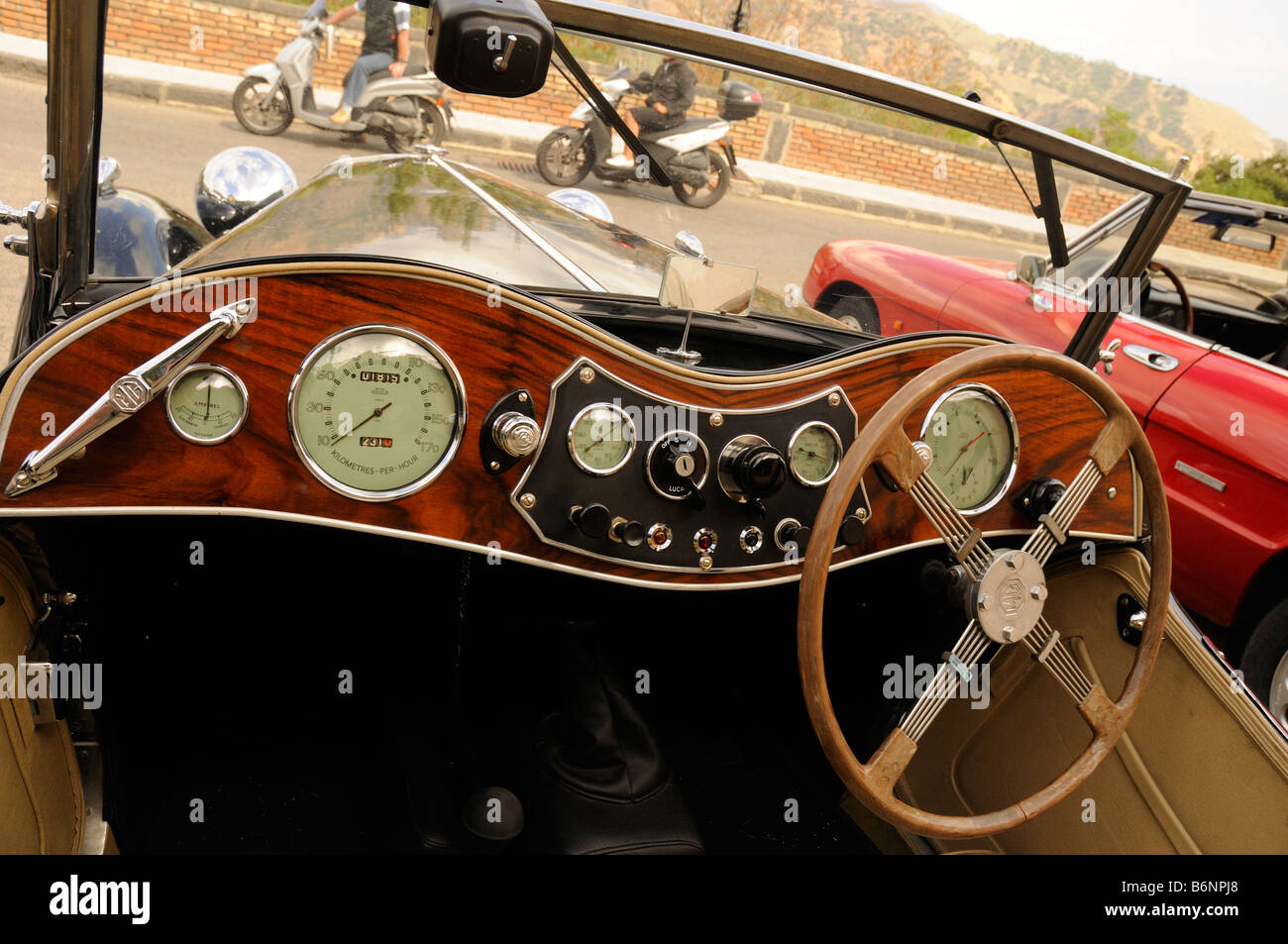 This is a detail from an MG Sports Car, a vintage car in Savoca ...