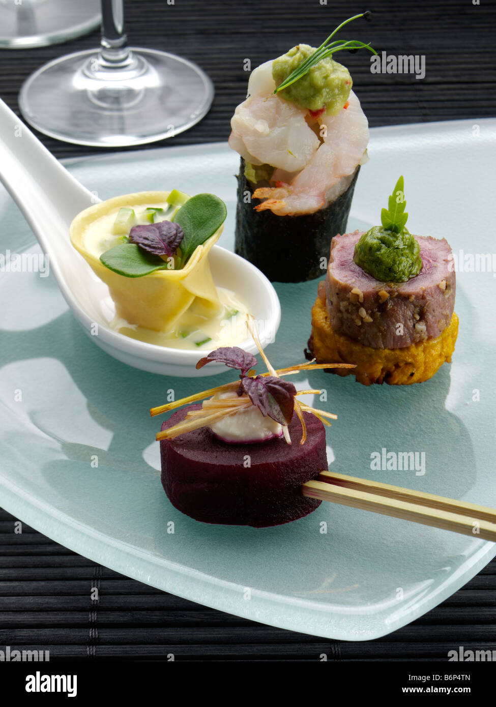 A selection of canapes fine dining stock photo royalty for Canape selection