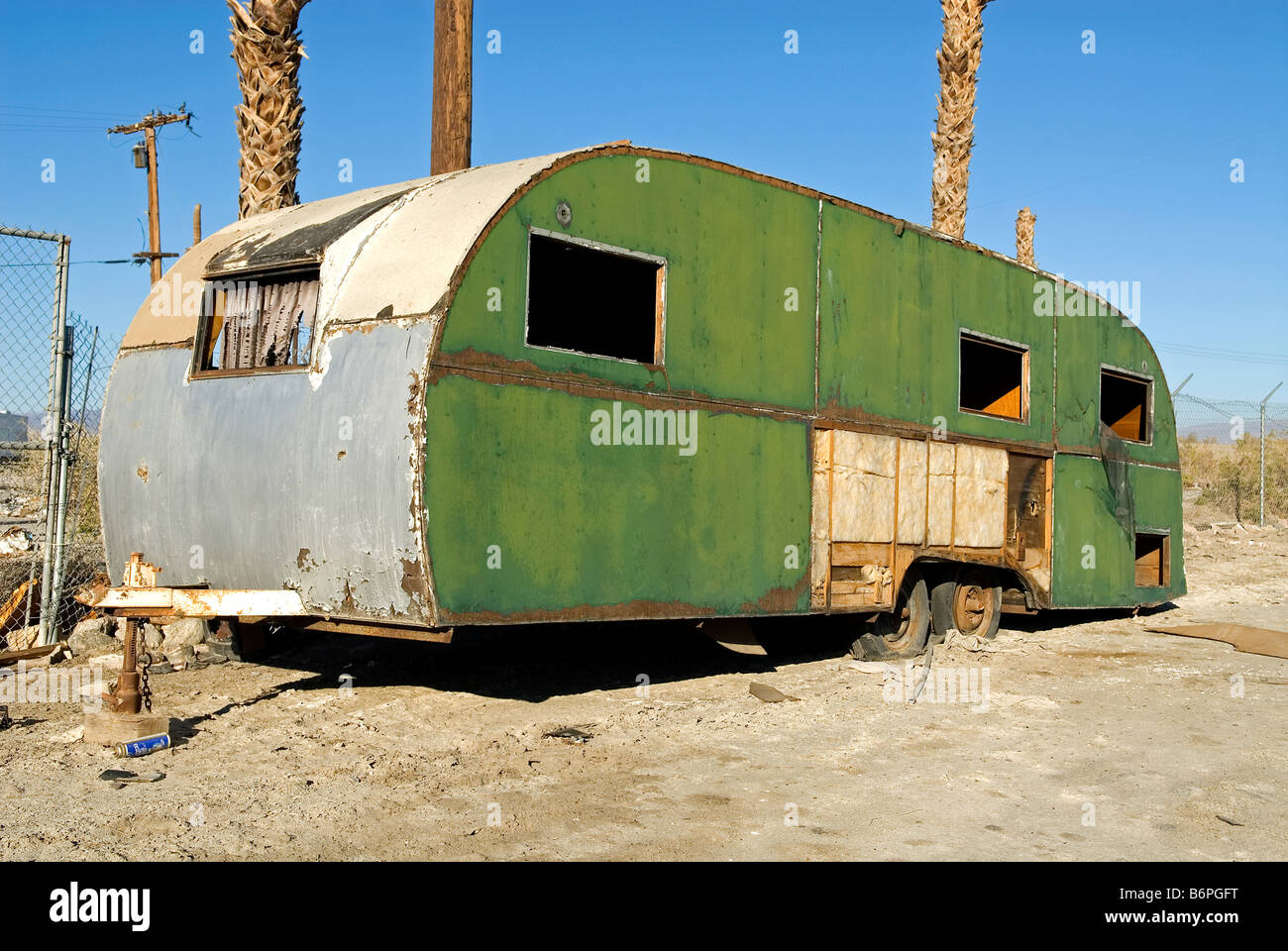 Abandoned Mobile Home Salton Sea Beach Southern California USA