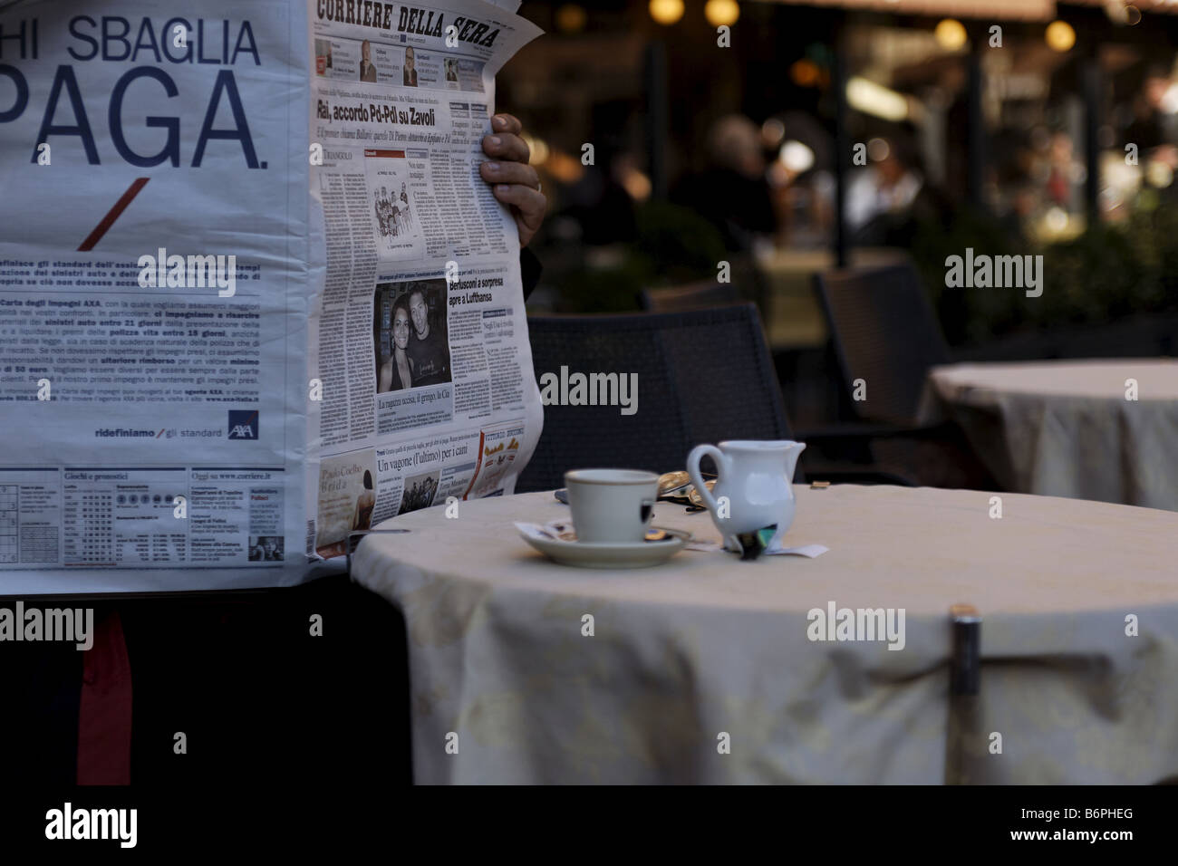 Italian Newspaper Being Read And Espesso Table Setting Siena ...