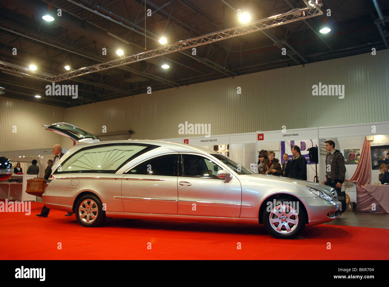 hearse mercedes car on memento funeral expo in warsaw poland stock photo royalty free image. Black Bedroom Furniture Sets. Home Design Ideas