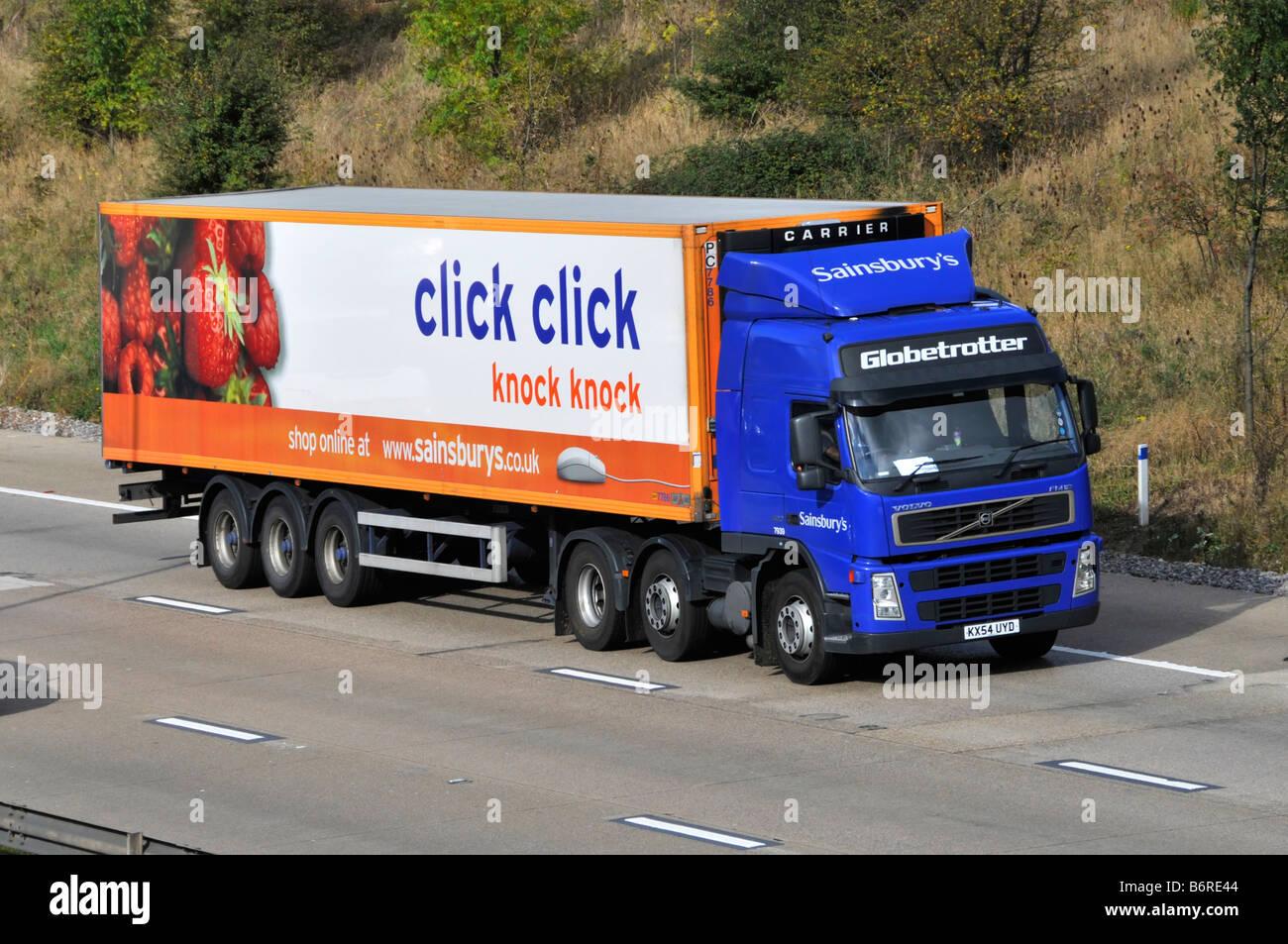 M25 motorway Sainsburys supermarket articulated trailer ...