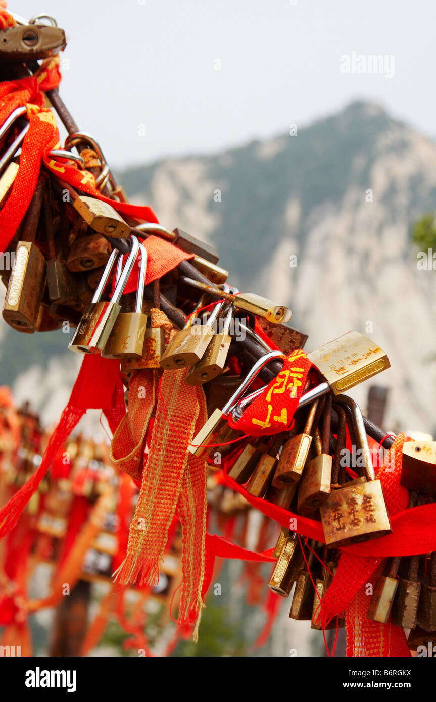 Red ribbons and locks as a symbol everlasting love on holy red ribbons and locks as a symbol everlasting love on holy mountain huashan xian china biocorpaavc