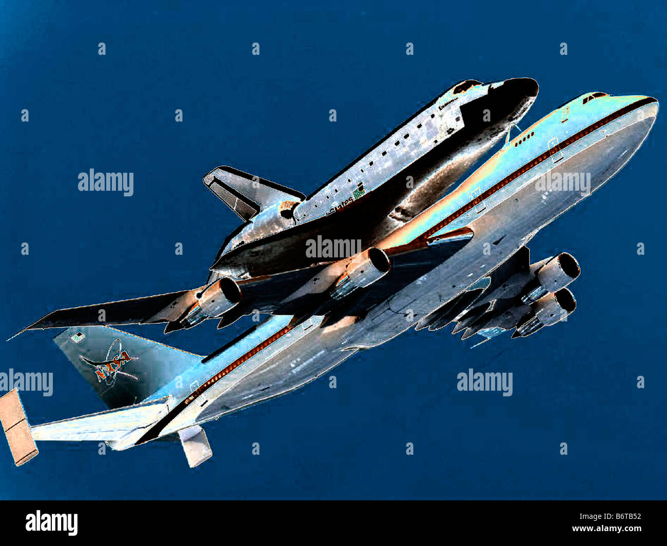 Nasa Space Shuttle Traveling Attached To A Boeing 747