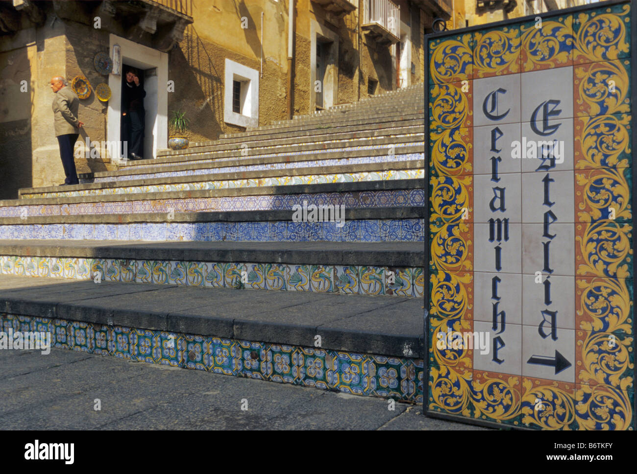 Ceramic tile store sign and steps of scalinata di santa maria del ceramic tile store sign and steps of scalinata di santa maria del monte in caltagirone sicily italy dailygadgetfo Choice Image