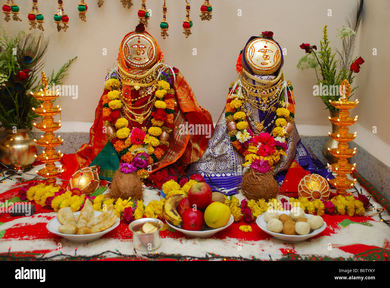 Gouri Or Gauri Hindu Deity Goddess Durga Decoration Pune Stock Photo 21446879 Alamy