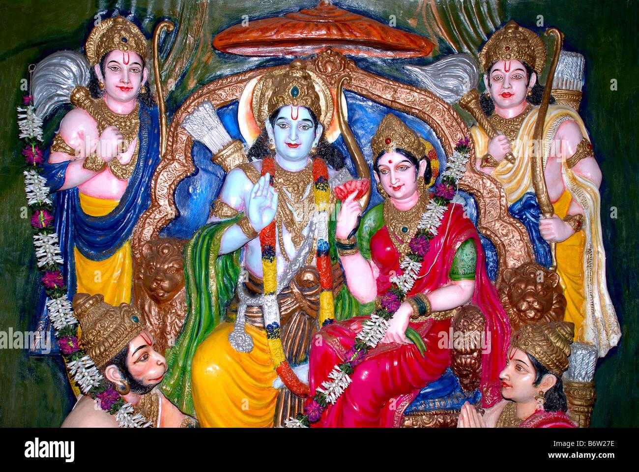 Hindu Diety Lord Rama, Goddess Sita, Hanuman, At A Temple