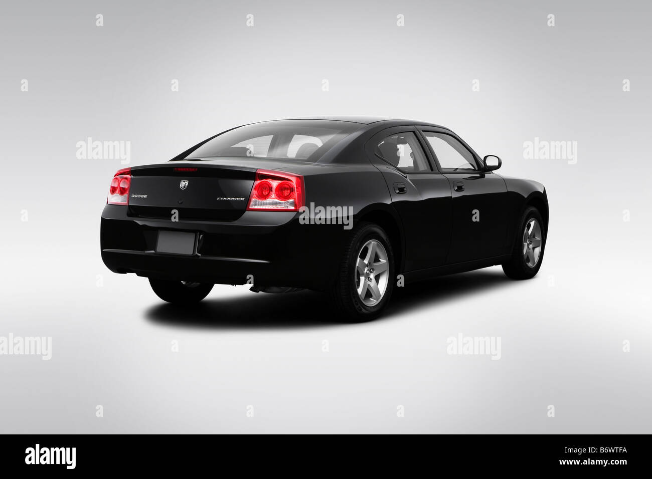 2009 Dodge Charger SE in Black  Rear angle view Stock Photo