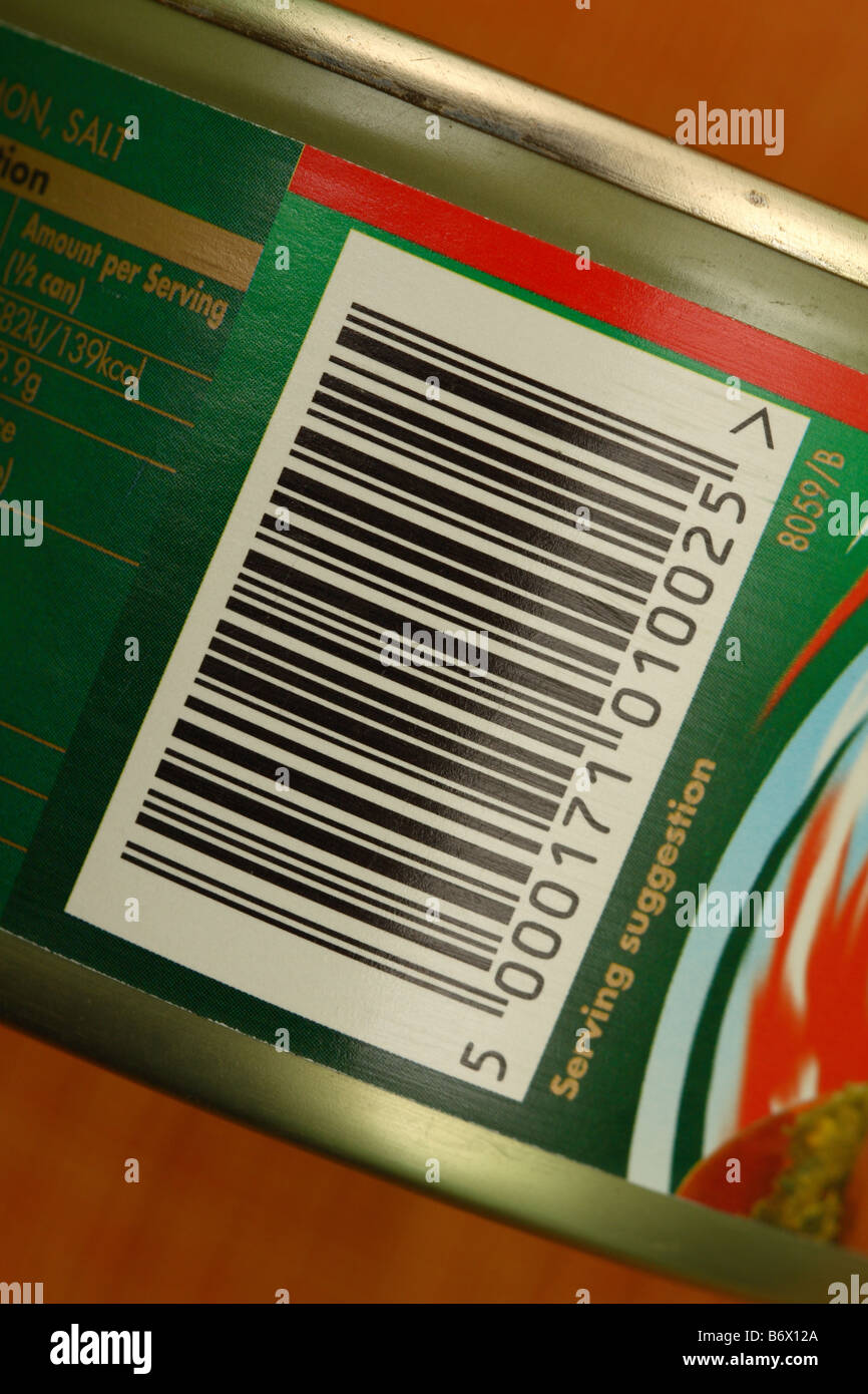 Food tin product supermarket barcode on tin can stock for Barcode food