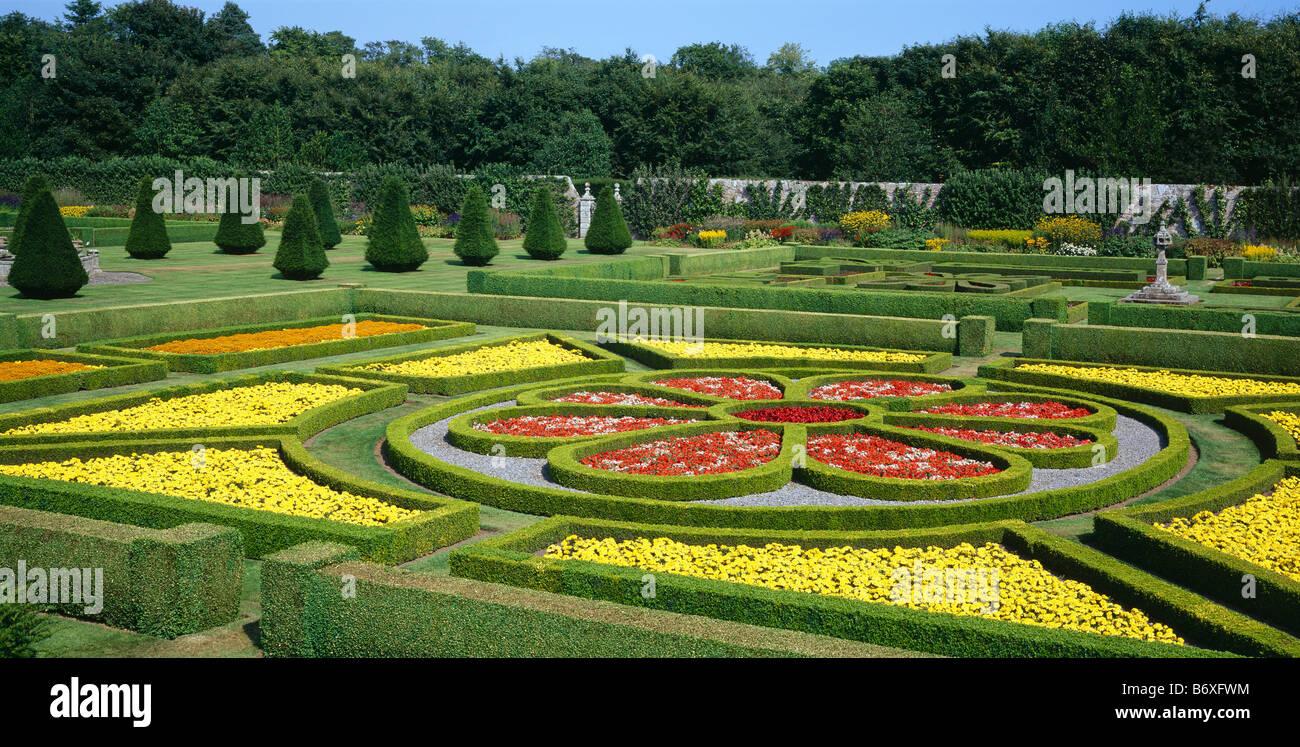 Parterre in Pitmedden garden, near Ellon, Aberdeenshire, Scotland ...