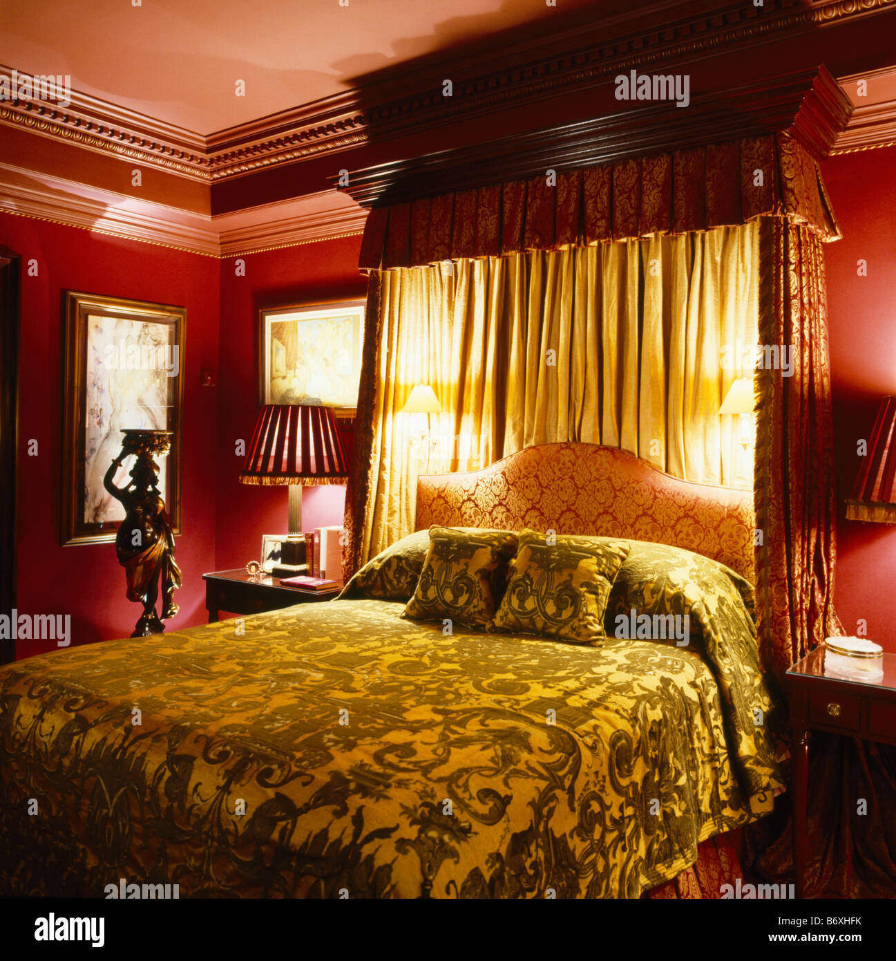 Brown Walls In Bedroom Velvet Bedcover On Half Tester Bed With Wall Lights And