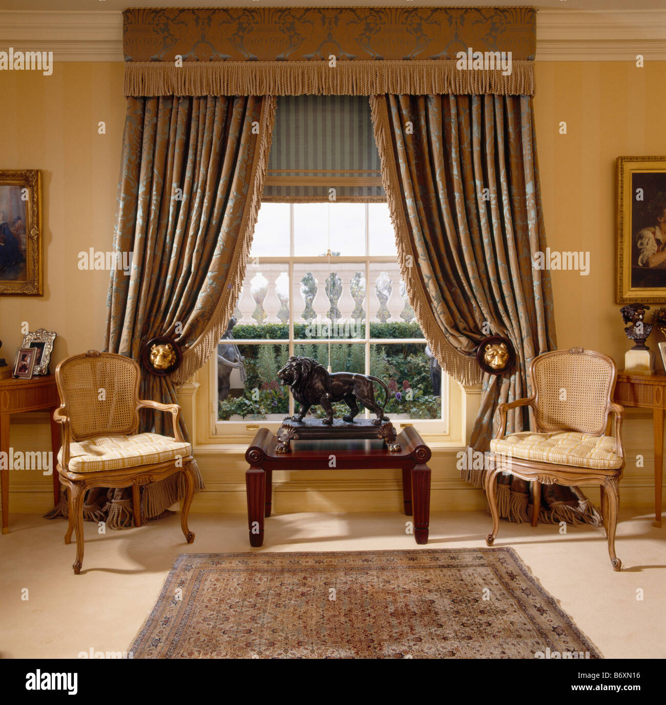 Blue And Beige Silk Curtains With Deep Pelmet And Blind In Living Room With  French Chairs Part 21
