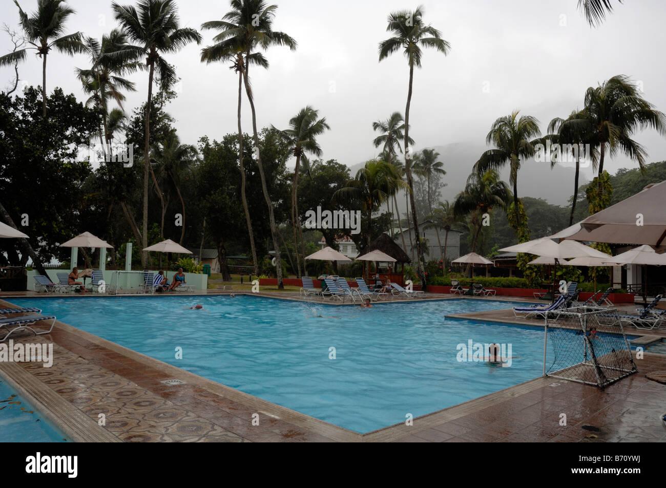 Tropical Rainstorm Hotel Swimming Pool Mahe Seychelles Indian Ocean Stock Photo Royalty Free