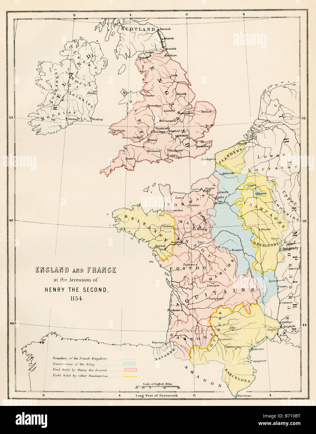 England And France At The Accession Of Henry Ii 1154 Italy Map Or