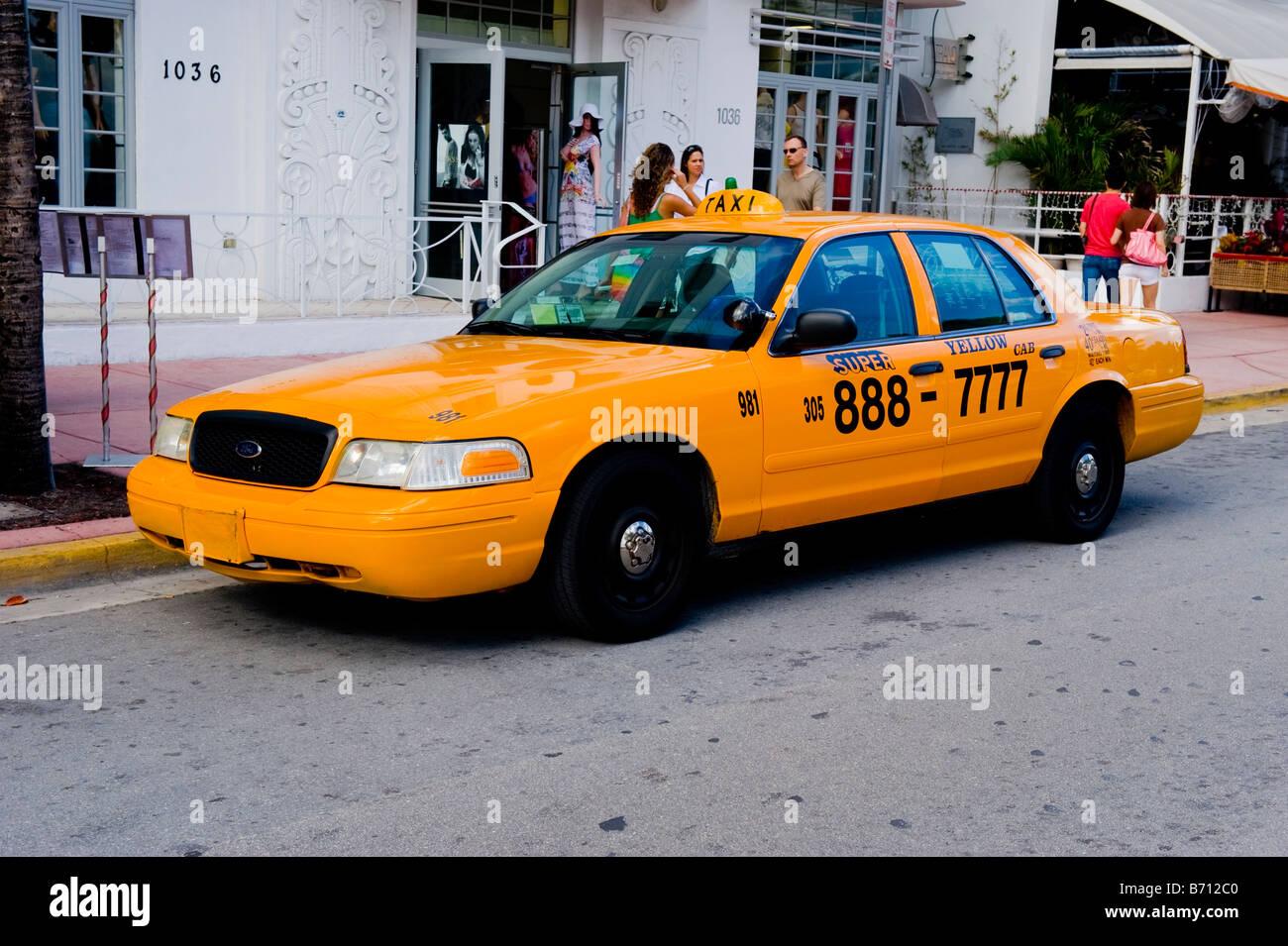 Miami South Beach Ocean Drive Detail Super Yellow Taxi Cab