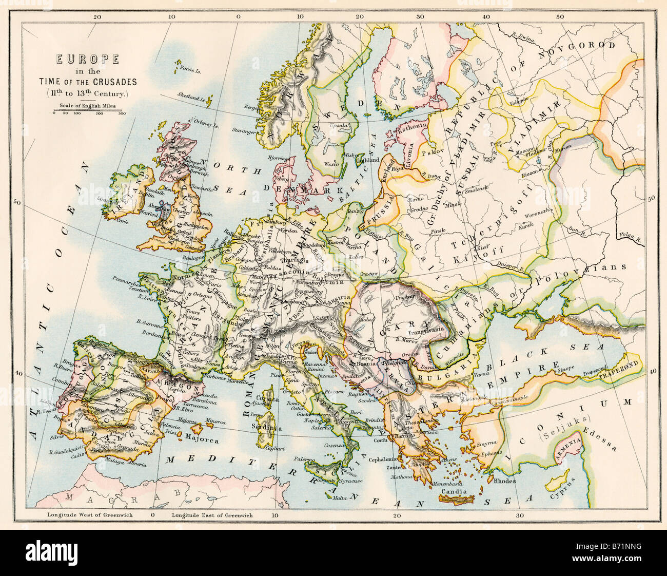 Map of Europe during the Crusades 1000 to 1200 AD Stock Photo