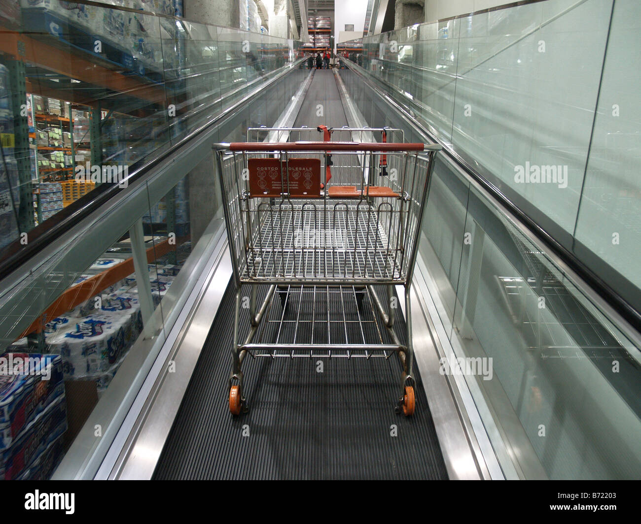 costco cart stock photos costco cart stock images alamy an empty shopping card rides the up escalator at a costco whole big box store in