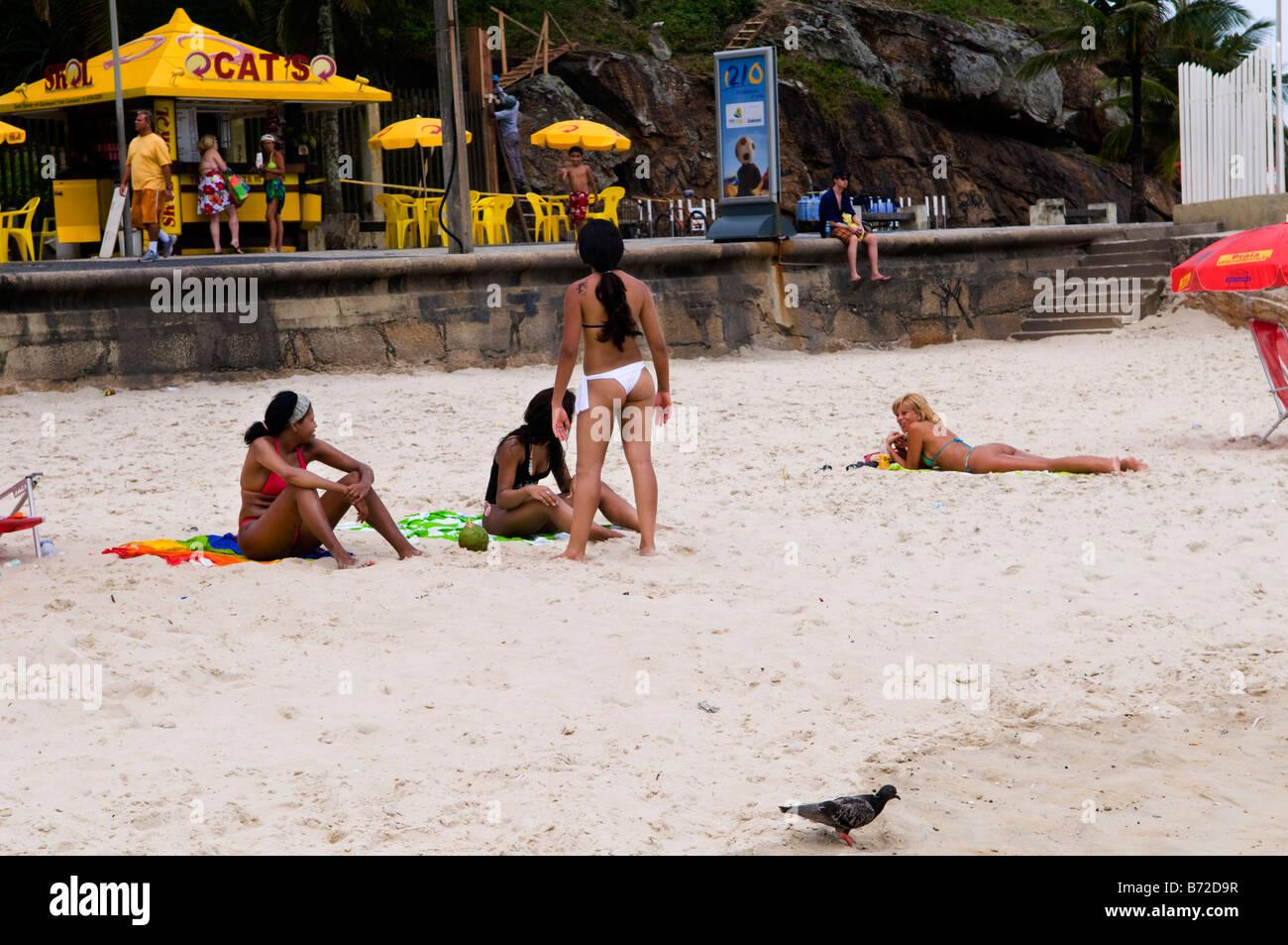 brazilian beauties on ipanema beach stock photo, royalty free image