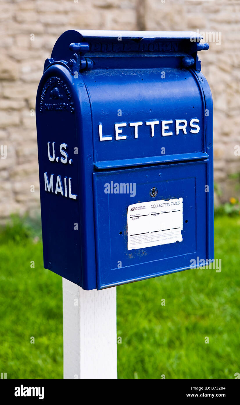 Image Of An Old Fashioned Blue Metal Us Mail Letter Box Standing ...