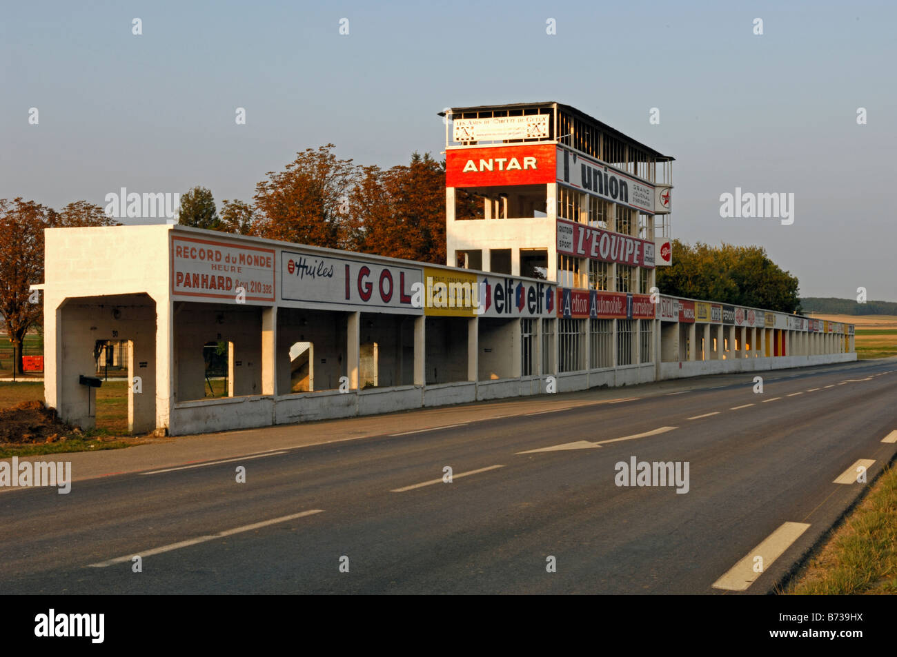 pit area at the reims gueux motor racing circuit near reims in the stock photo royalty free. Black Bedroom Furniture Sets. Home Design Ideas