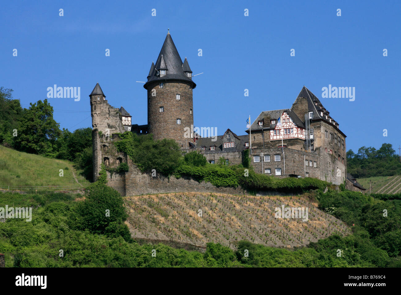 stahleck castle rhine gorge upper middle rhine valley mainz bingen stock photo royalty free. Black Bedroom Furniture Sets. Home Design Ideas