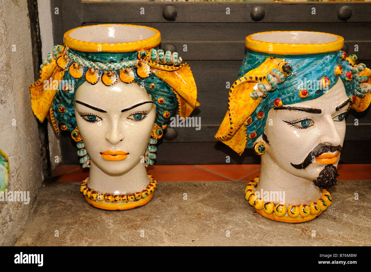 Typical Sicilian Pottery Items On Sale In Shop In Taormina In Sicily B Mbw