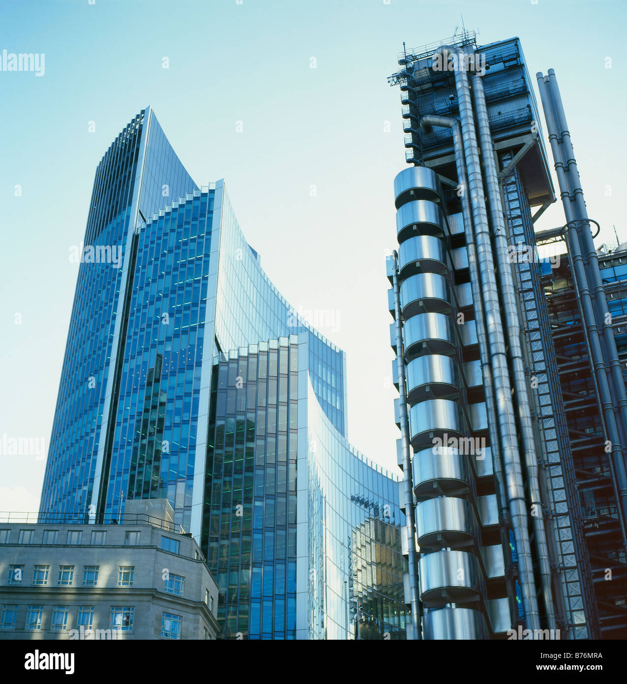 stock photo the willis building architect norman foster and lloyds building architect richard rogers in the city of london uk kathy dewitt
