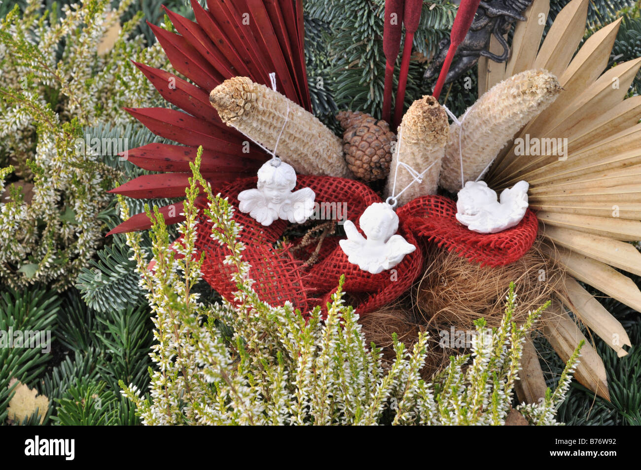 Grave Decoration Grave Decoration With Dyed Plant Parts Stock Photo Royalty Free