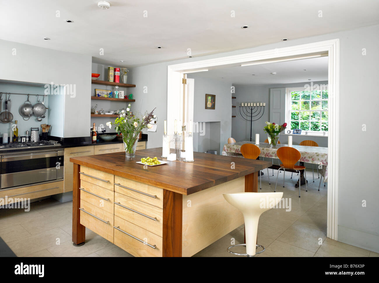 basement kitchen in georgian townhouse in north london stock photo