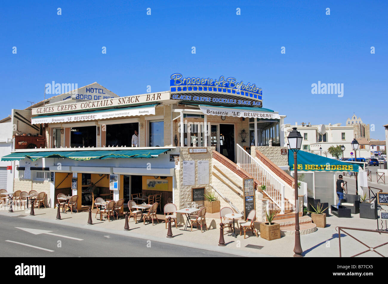 restaurant brasserie le belvedere les saintes maries de la mer stock photo royalty free image. Black Bedroom Furniture Sets. Home Design Ideas
