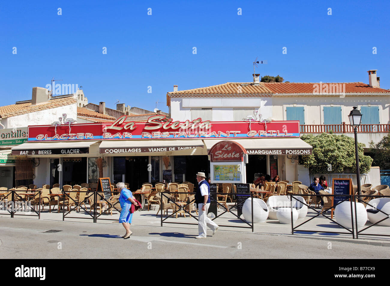 restaurant les saintes maries de la mer camargue bouches du rhone stock photo royalty free. Black Bedroom Furniture Sets. Home Design Ideas