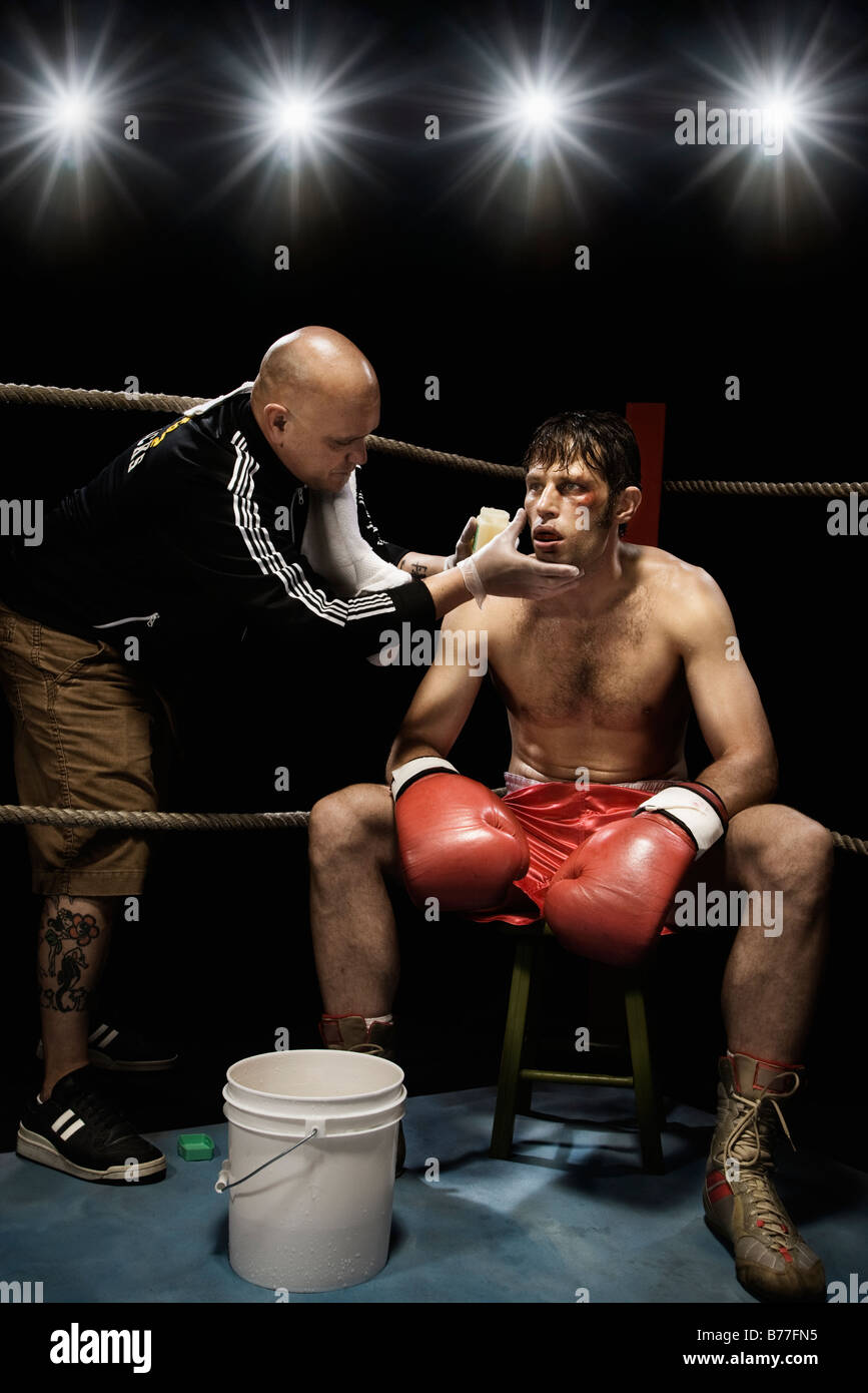 Free Images Coach And Boxer In Corner Of Ring