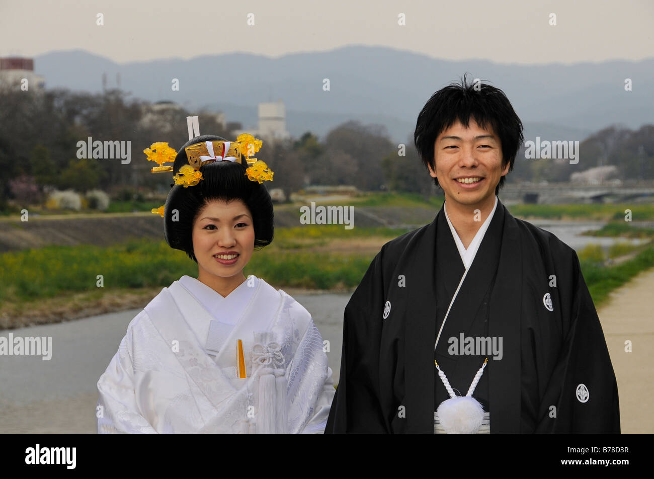 Japanese wedding blessings - Traditional Japanese Wedding Couple Wearing Kimonos Bride With Wedding Hairstyle On The Kamigamo River