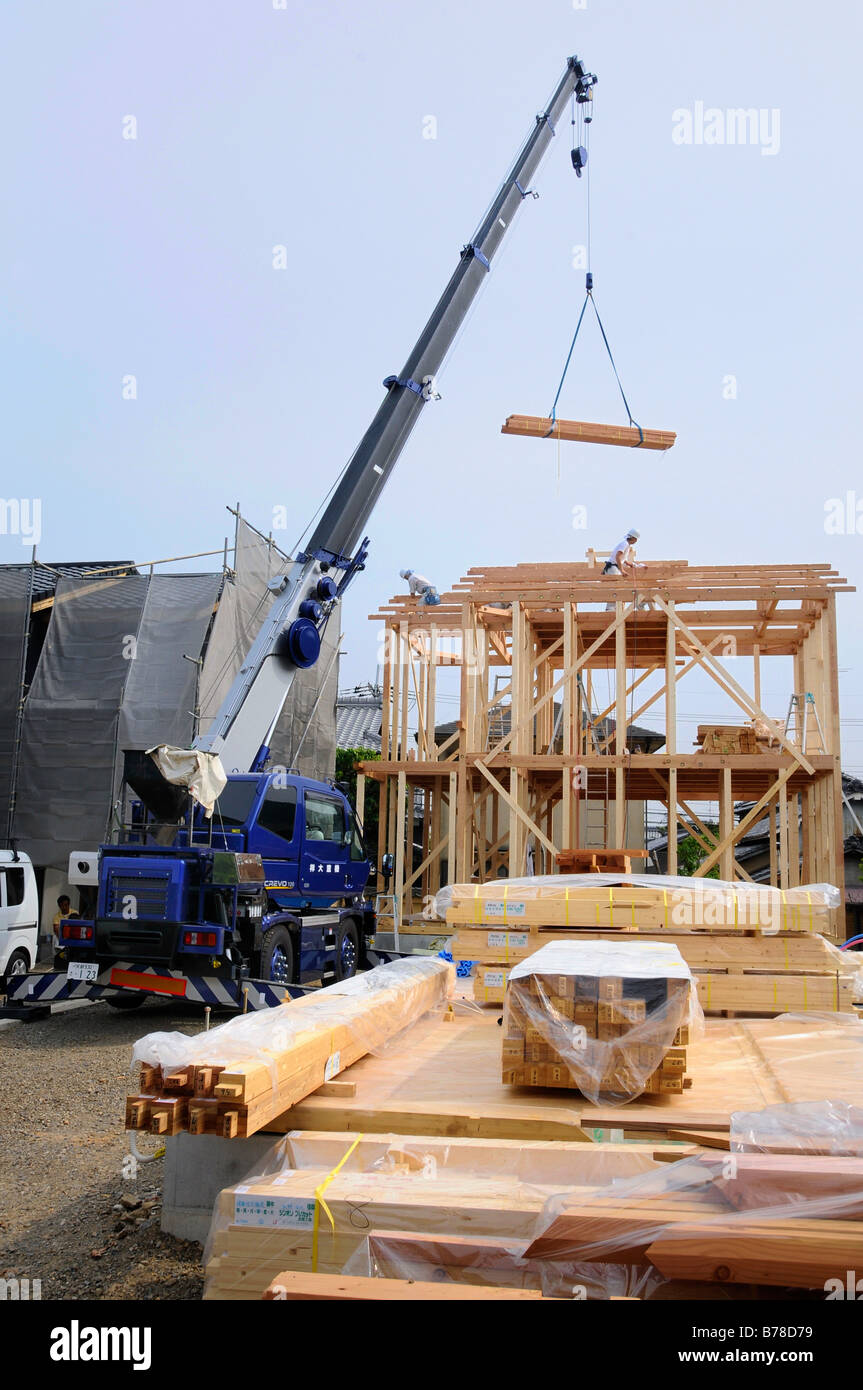 Assembly of a modern prefabricated house in light wooden framework construction iwakura japan asia