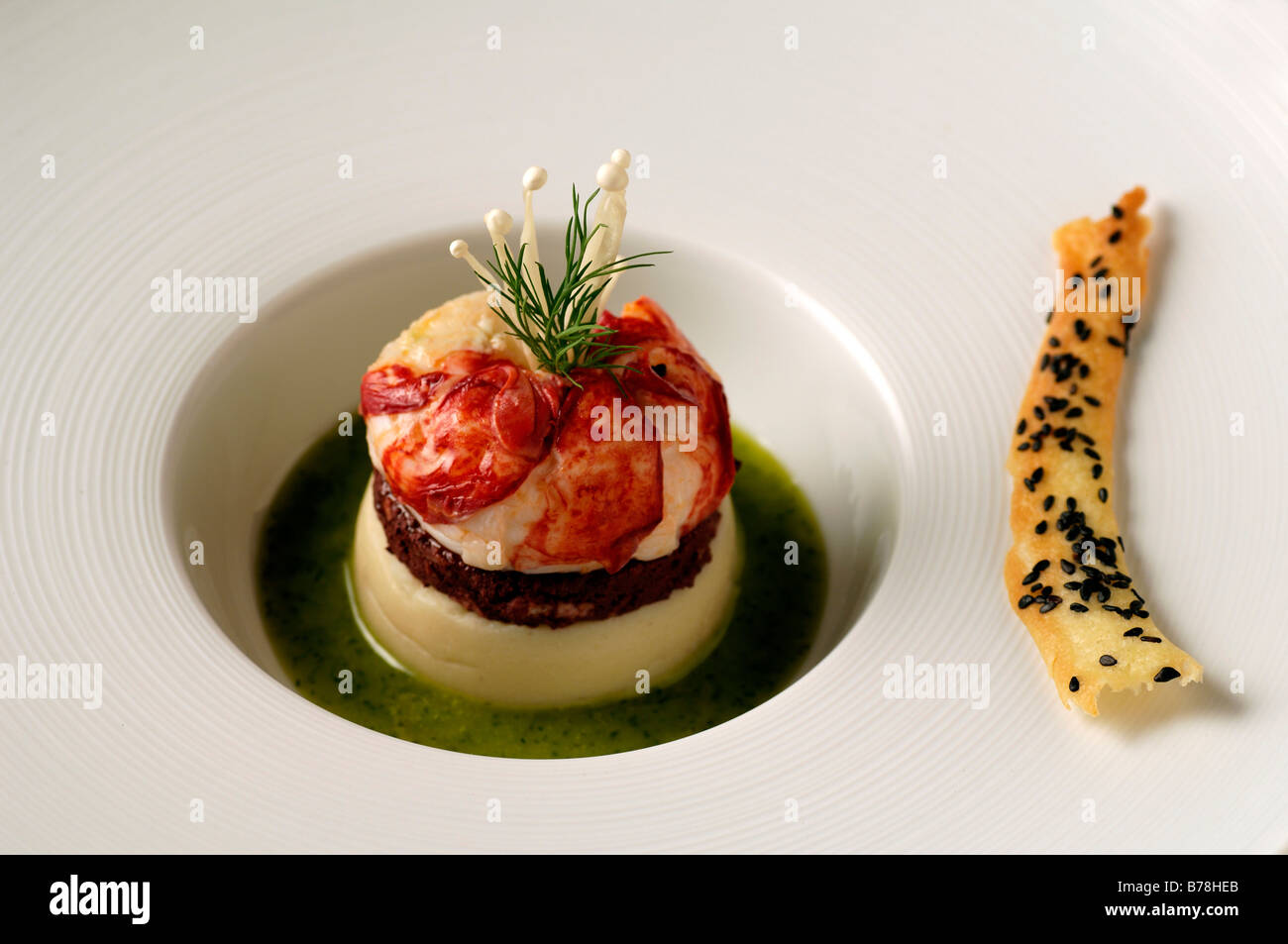 Ap ro breton lobster blackpudding and potato puree - French haute cuisine dishes ...