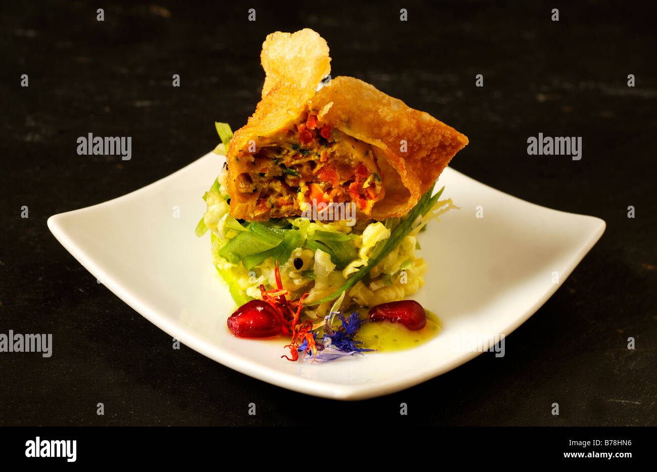 Ap ro 39 fish won ton on thai salad haute cuisine la for Alsatian cuisine