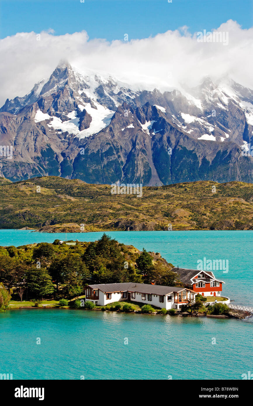 Patagonia South America >> Lodge Hosteria Pehoe On Lake Pehoe, Torres Del Paine National Park Stock Photo, Royalty Free ...