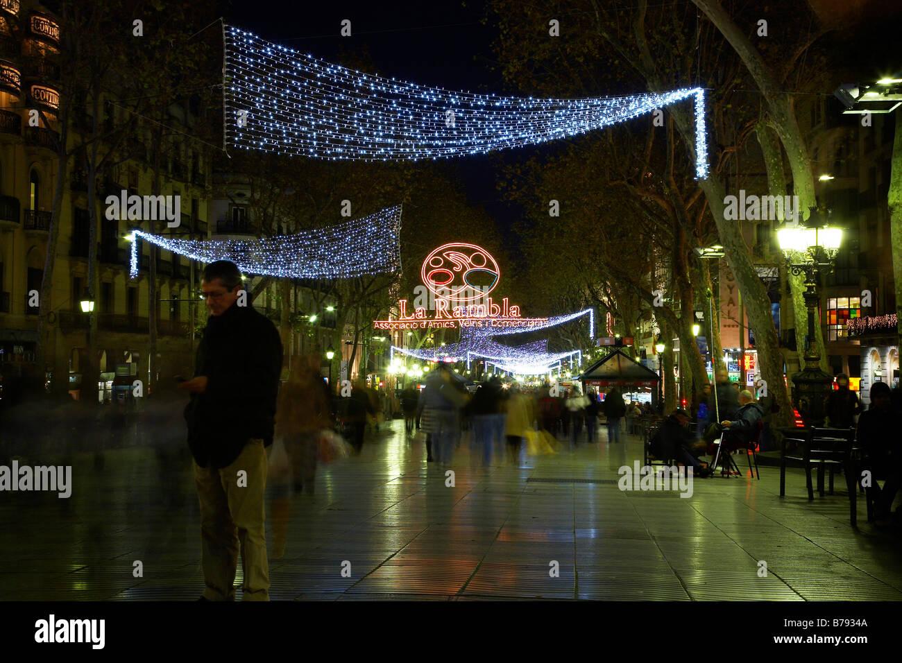 Christmas Lights At La Rambla High Street In Barcelona Stock Photo  - Christmas Lights In La