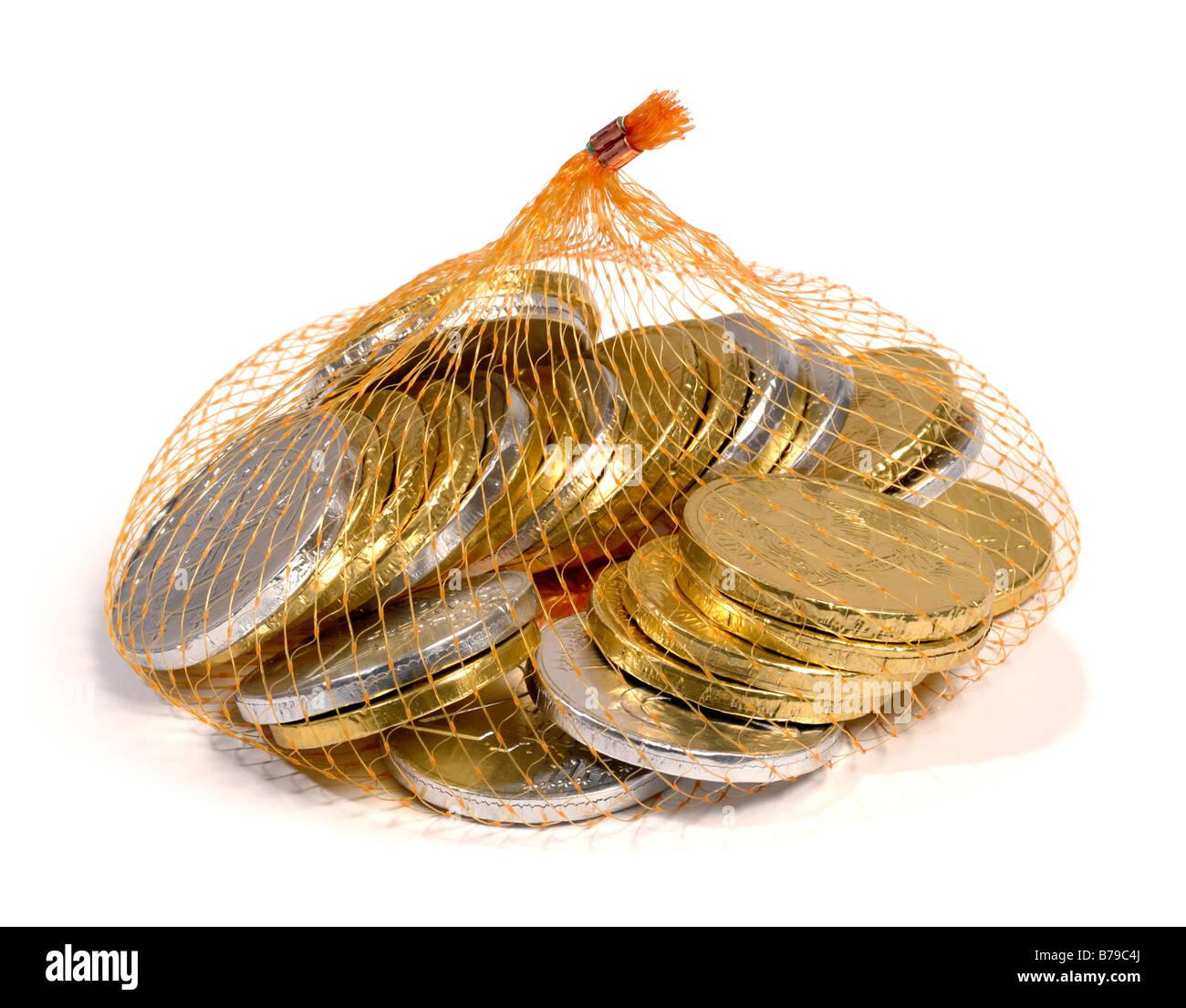 Chocolate Coins Bag Stock Photos & Chocolate Coins Bag Stock ...
