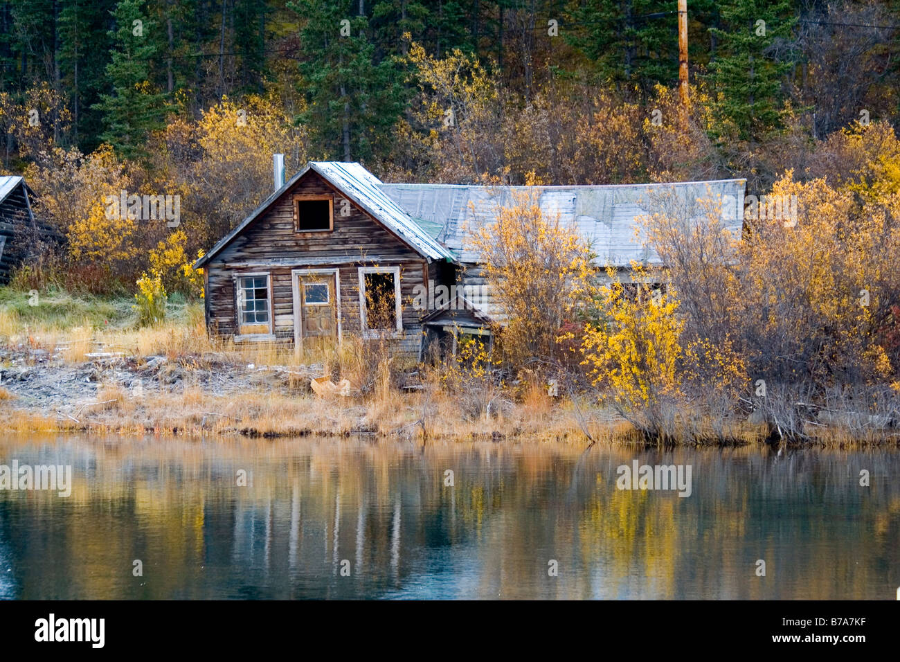 Marvelous photograph of Stock Photo Historic log cabin Klondike Gold Rush Nares Lake Lake  with #9B7430 color and 1300x956 pixels