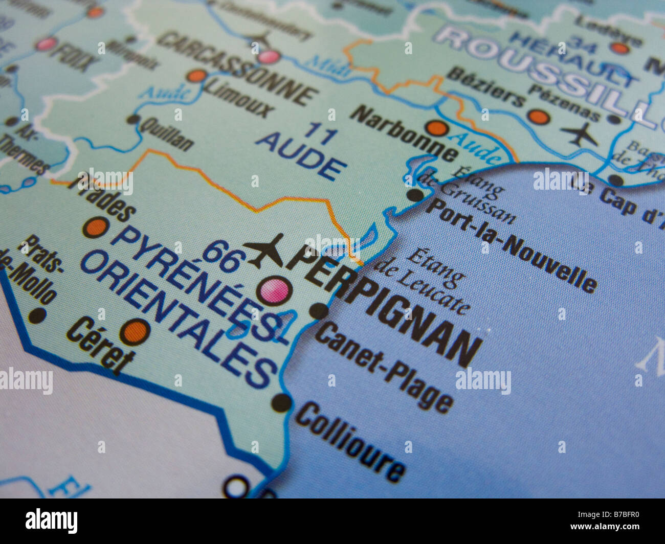Map of France showing Perpignan and its surrounding areas Stock