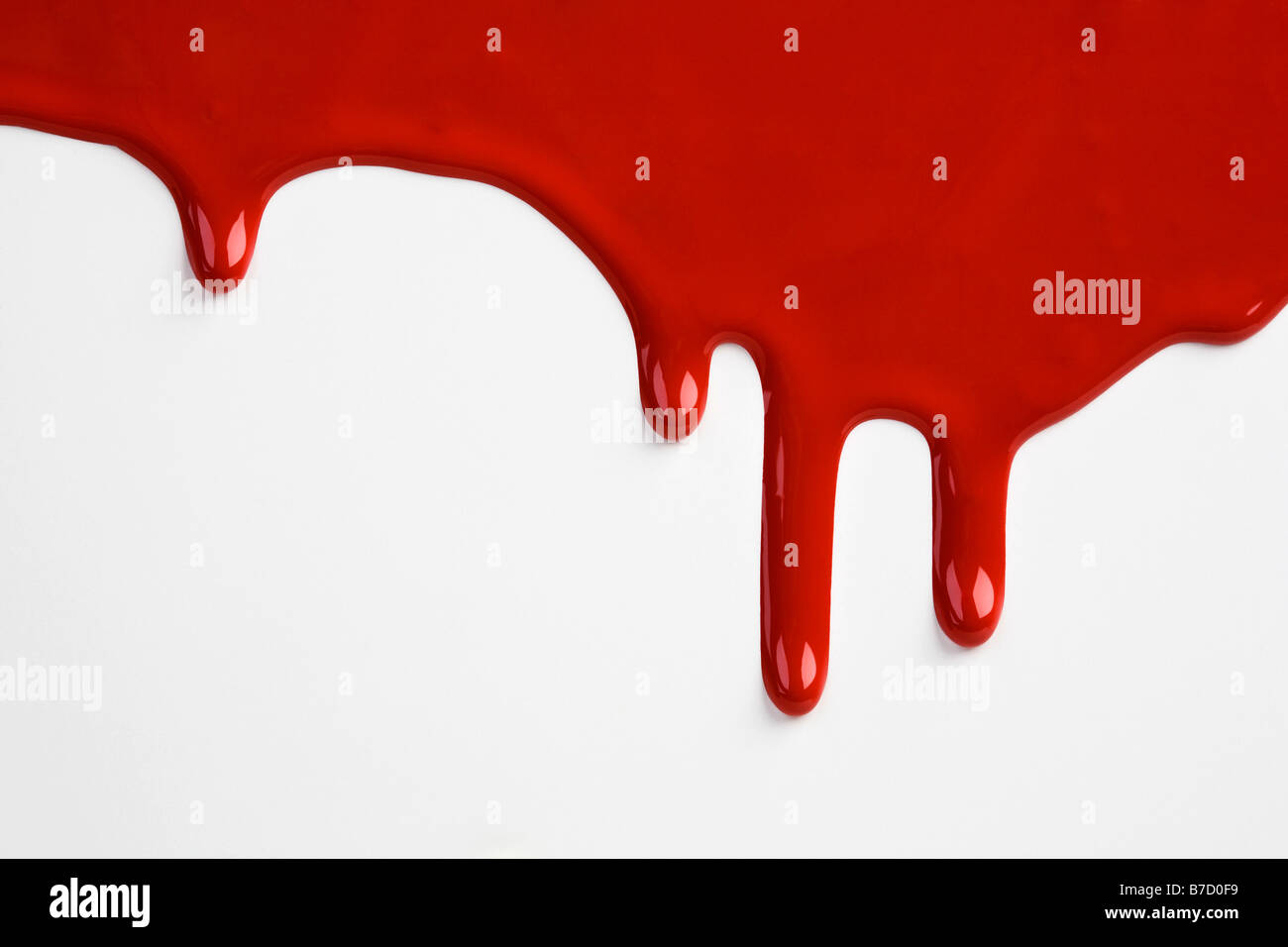 Red paint dripping down a white wall Stock Photo, Royalty Free ...