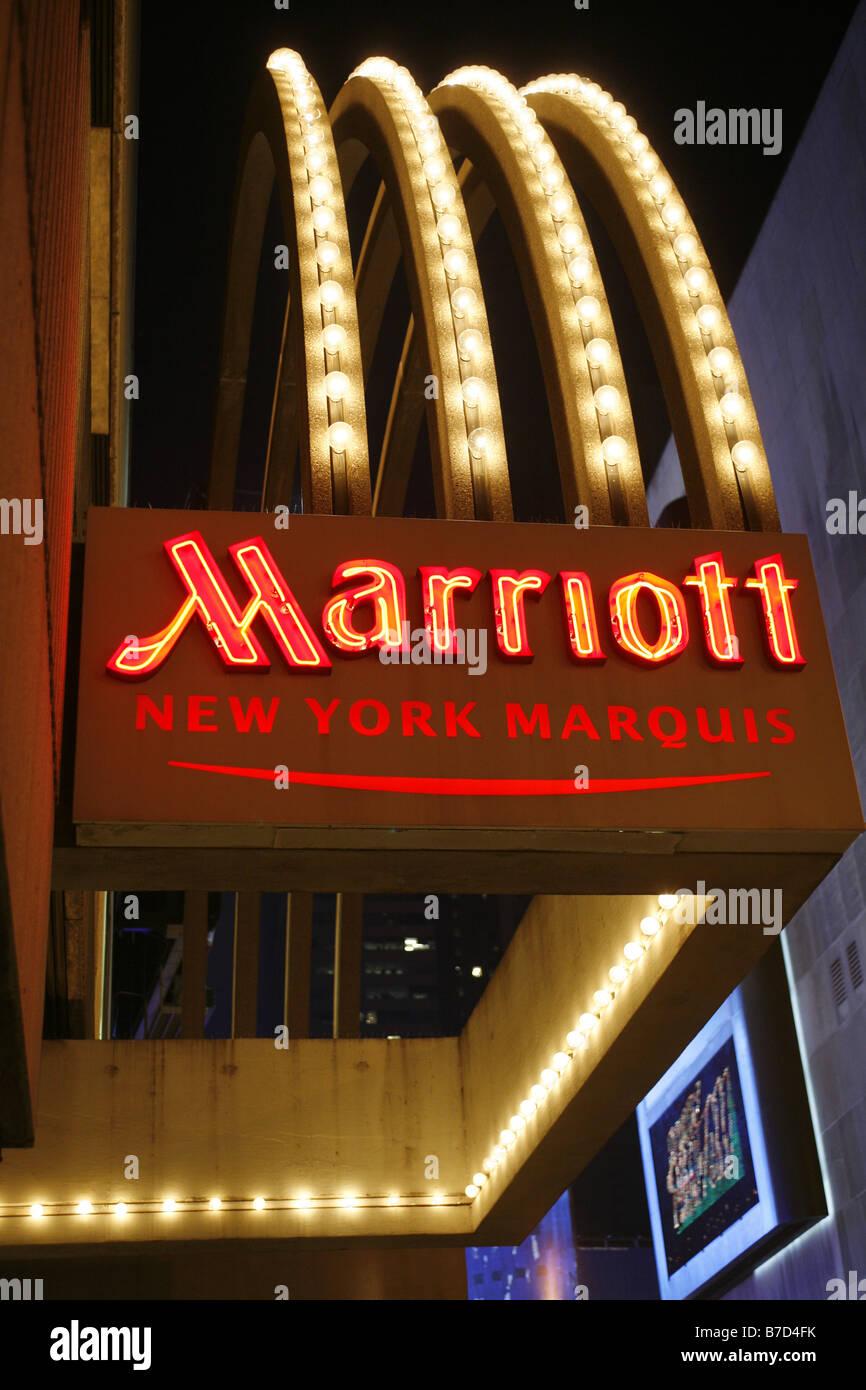 Marriott Hotel Times Square New York City Usa Stock