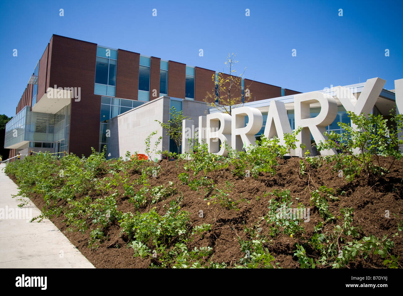 signage in block letters for the new modern public library building in champaign illinois