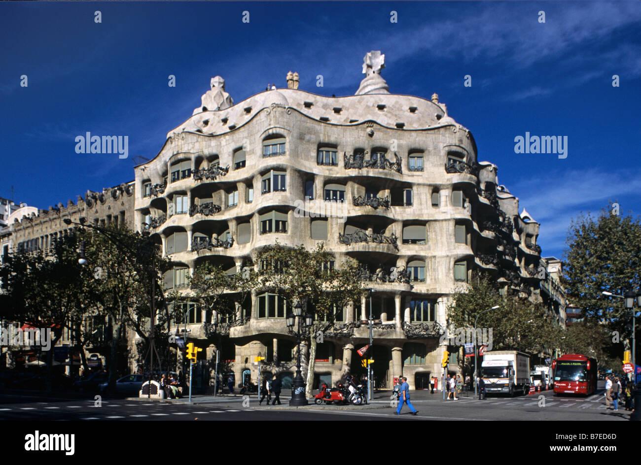 The art nouveau or modernista casa mila or la pedrera - Casa modernista barcelona ...